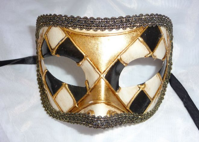 Genuine Venetian Black & Gold half Mask a